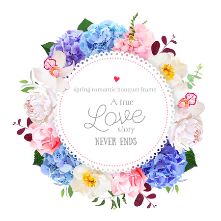 Luxury round floral vector design frame arranged from blue, pink and purple hydrangea, orchid, white peony, carnation and greenery. Beautiful spring wedding card.All elements are isolated and editable Ilustrace