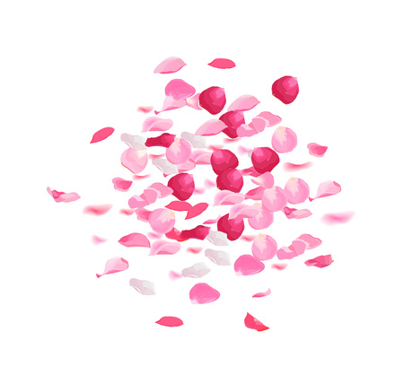 Pink rose petals pile vector design set. Illustration