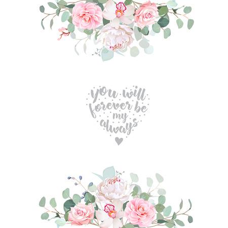 Cute wedding floral vector design frame Vectores