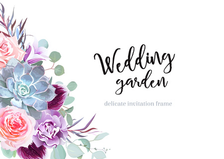 Stylish plum colored and pink flowers vector design banner card. Foto de archivo - 92297540