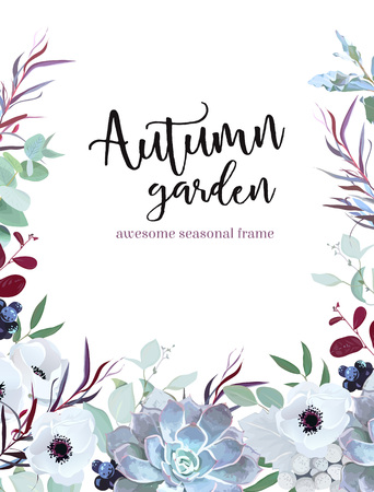 Autumn plants vector design frame arranged from anemone, eucalyptus, agonis, echeveria succulent and more. Banner or border. All leaves are not cut.