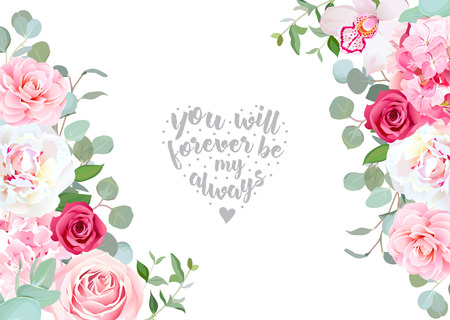 Sides wedding floral vector design frame. Rose, white peony, orchid, camellia and more. Floral banner stripe elements. All elements are isolated.