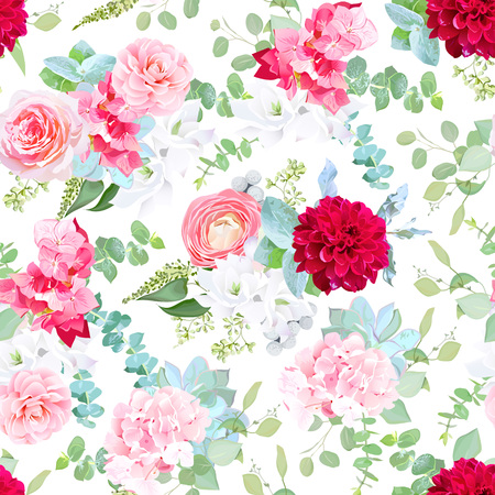 Pink rose, camellia, red dahlia, hydrangea, blue succulents, white freesia, silverberry, mint eucalyptus, brunia pattern on white. Seamless vector print. Fantasy wedding mix of flowers and plants