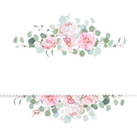 Roos, camelia, orchidee, pioen, zilveren dollar eucalyptus vector.