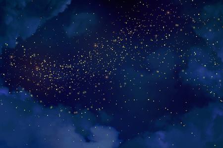 Céu azul escuro da noite mágica com estrelas sparkling. Fundo do vetor do respingo do pó do glitter do ouro. Pó dourado espalhado. Meia-noite via láctea. Textura de inverno de Natal com nuvens.