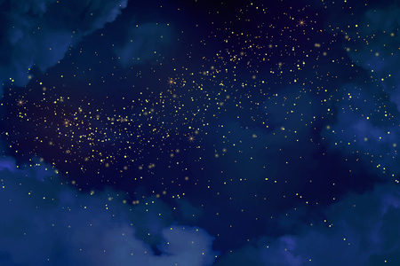 Magic night dark blue sky with sparkling stars. Gold glitter powder splash vector background. Golden scattered dust. Midnight milky way. Christmas winter texture with clouds. Illustration