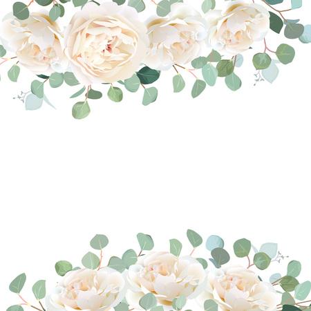 Des roses blanches crémeuses et des branches d'eucalyptus dollar en argent dessin vectoriel. Bannière de verdure de mariage rustique mignon. Menthe, tons bleus. Bordure de style aquarelle. Tous les éléments sont isolés et modifiables.