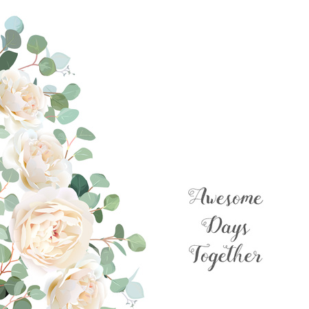Creamy white roses and silver dollar eucalyptus branches vector design frame. Cute rustic wedding greenery banner. Mint, blue tones. Watercolor style border. All elements are isolated and editable.