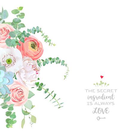 水彩画スタイルの花ブーケフレーム。ラヌンキュラス、ピオニー、ピンクのバラ、白いケシ、ジューシー、ベビーブルーユーカリ。シンプルでナチ