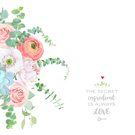 Watercolor style flowers bouquet frame. Ranunculus, peony, pink rose, white poppy, succulent, baby blue eucalyptus. Vector greenery illustration for simple, natural chic wedding design. Isolated illustration. Vettoriali