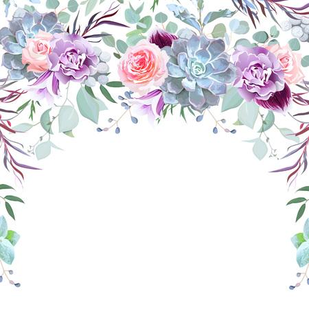 Halbkreisgirlandenrahmen angeordnet von den Blumen