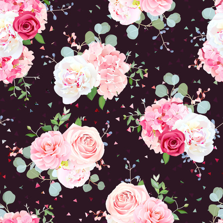 Dark romantic french bouquets of red and pink rose, white peony, camellia, hydrangea, blue berries and eucalyptus leaves pattern. Seamless vector print on geometric background with triangle speckles.