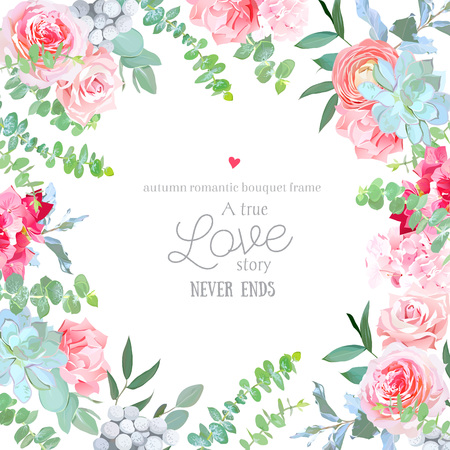 Watercolor floral square vector design frame Иллюстрация