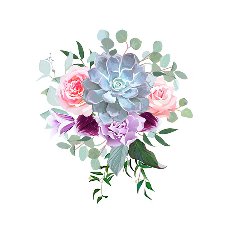 Stylish plum colored and pink flowers vector design bouquet