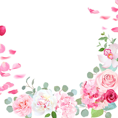 Spring floral vector round frame with peony, rose, orchid, hydra