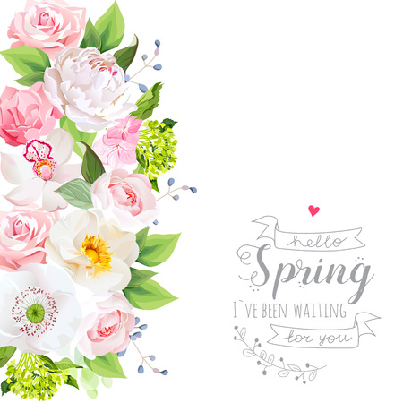 Spring vector design card with white peony, pink rose, wild rose, orchid, carnation flowers, poppy and green hydrangea.