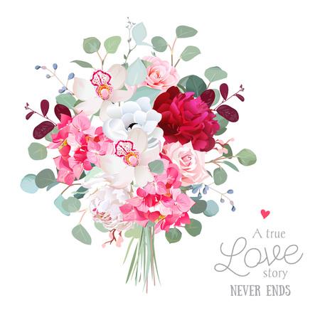 Aquarel stijl bloemen boeket. Witte en Bourgondische rode pioen, roos, orchidee, anemoon, roze hortensia, zilveren dollar eucalyptus. Vector groenillustratie voor eenvoudig, natuurlijk elegant huwelijkontwerp.
