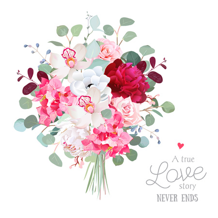 Watercolor style flowers bouquet. White and burgundy red peony, rose, orchid, anemone, pink hydrangea, silver dollar eucalyptus. Vector greenery illustration for simple, natural chic wedding design. Vettoriali
