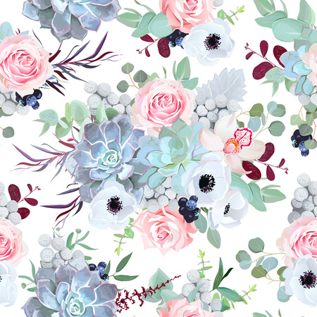 Seamless vector design pattern arranged from pink rose, white anemone, echeveria succulent, orchid flowers, brunia, eucalyptus greenery, black berry. Beautiful floral print. All elements are isolated Illustration