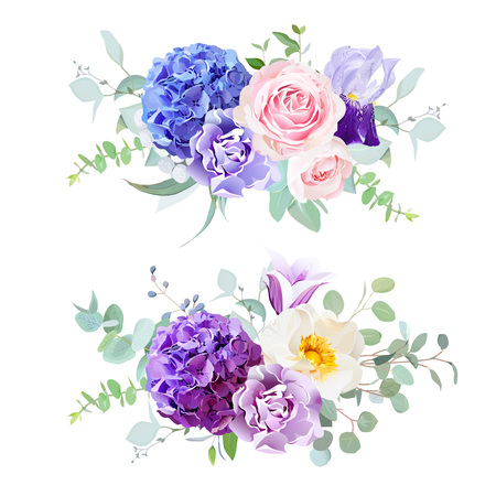 Violet, blue and purple hydrangea, rose, iris, carnation, bell flower, eucalyptus and greenery vector design horizontal bouquets.Beautiful spring wedding flowers.All elements are isolated and editable