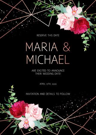 Stijlvolle donkere geometrische bruiloft vector design frame met bloemen. Gouden lijngrenzen. Moderne uitnodiging. Bourgondische rode pioen, roze roos, orchidee, eucalyptus. Alle elementen zijn geïsoleerd en bewerkbaar.