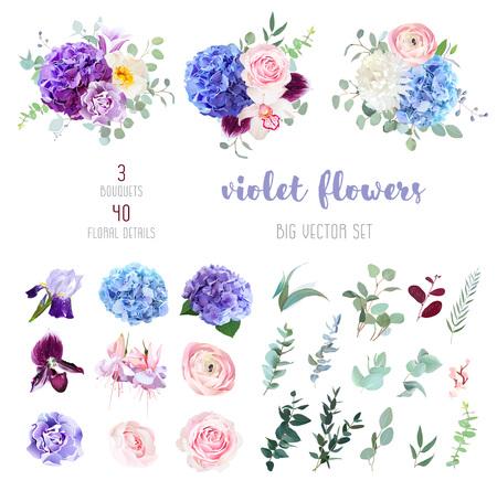 Fioletowe, fioletowe, różowe i niebieskie kwiaty z ustawionymi liśćmi.