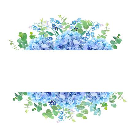 Banner botánico horizontal de diseño vectorial. Eucalipto azul bebé, hortensia azul claro, no me olvides ni flores silvestres ni hierbas. Tarjeta o marco natural. Humor de primavera. Todos los elementos son aislados y editables. Ilustración de vector