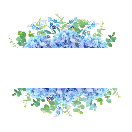 Horizontal botanical vector design banner. Baby blue eucalyptus, light blue hydrangea, forget me not wildflowers and herbs. Natural card or frame. Spring mood. All elements are isolated and editable Фото со стока - 94711767
