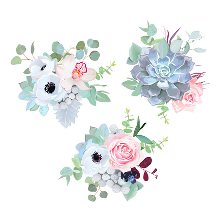 Delicate wedding seasonal flowers vector design bouquets. Rose, anemone, succulent, eucalyptus, agonis, brunia, black berry.Floral borders.Mint color composition.All elements are isolated and editable Ilustração