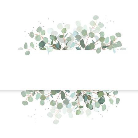 Bandeira horizontal do projeto do vetor do eucalipto do casamento. Vegetação rústica. Hortelã, tons azuis. Coleção de estilo aquarela. Árvore mediterrânea. Todos os elementos são isolados e editáveis