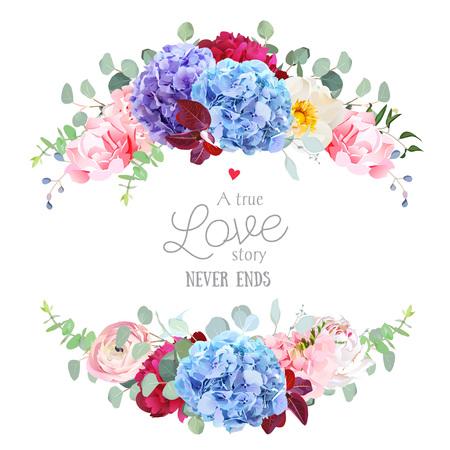 Violet, blue and purple hydrangea, pink rose, ranunculus, carnat border illustration Stock Illustratie