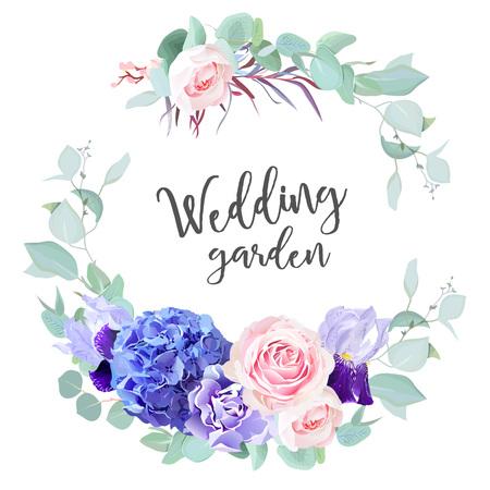 Purple hydrangea, pink rose, violet iris, carnation, blue mint border illustration Vectores