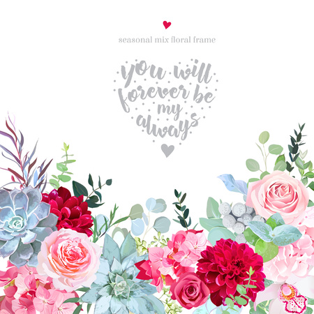 Pink roses, hydrangea, burgundy red dahlia, orchid, brunia, border illustration
