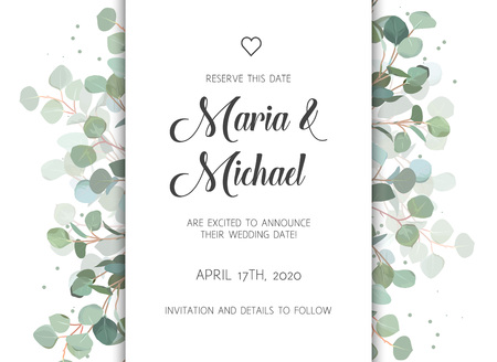 Wedding eucalyptus vertical vector design banner frame.