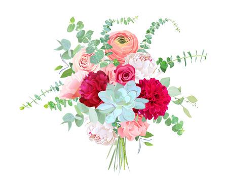 Watercolor style flowers bouquet.