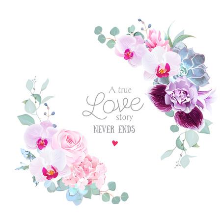 Okrągła rama kwiatowy wektor fioletowa orchidea, różowa róża, hortensja