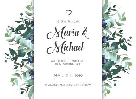 mariage modèle d & # 39 ; invitation avec floral thème illustration vectorielle