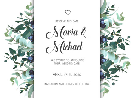 Wedding invitation template with floral theme vector illustration