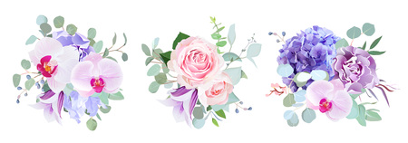 Purple and violet flowers vector design bouquets. Floral wedding borders composition. 矢量图像