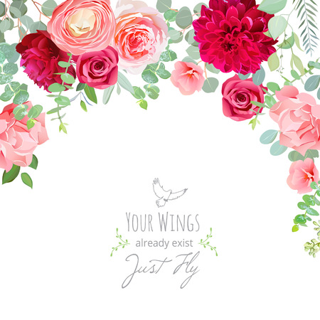Chic summer wedding invitation frame. All elements are isolated and editable.