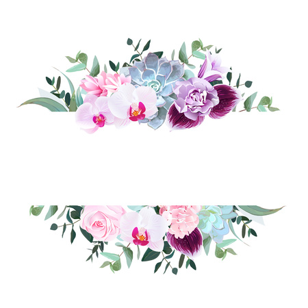 Horizontal botanical vector design banner. Isolated on white background.