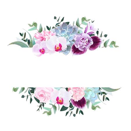 Horizontal botanical vector design banner. Isolated on white background.