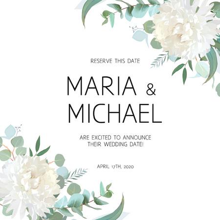Wedding eucalyptus and white chrysanthemum flowers vector design 矢量图像