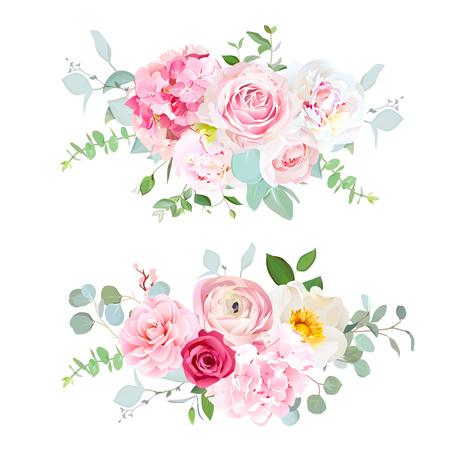 Hortensia rose, rose rouge, pivoine blanche, camélia, renoncule, euc Banque d'images - 98888419