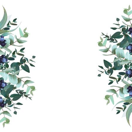 Vertical sides botanical vector design banner