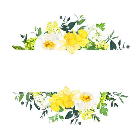 黄色の結婚式水平植物ベクトルデザインバナー