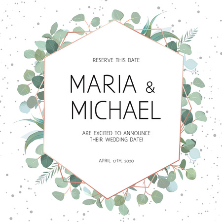 Elegant vector frame with eucalyptus on white background with dots. Delicate art deco card. Stylish texture. Diamond shaped wedding invitation. Gold line art. All elements are isolated and editable. Illustration