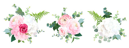 Eco style wedding flowers vector design bouquets