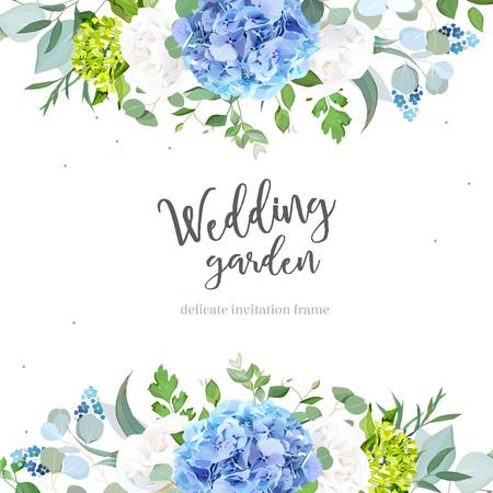 Light blue hydrangea, white rose, forget me not wildflowers, euc