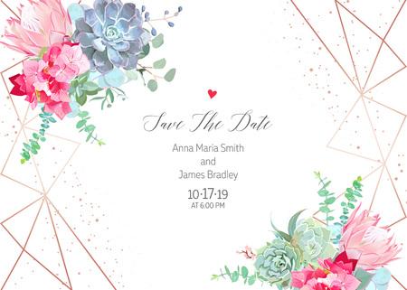 Pink hydrangea, protea, blue echeveria succulent, eucalyptus, gr Ilustração